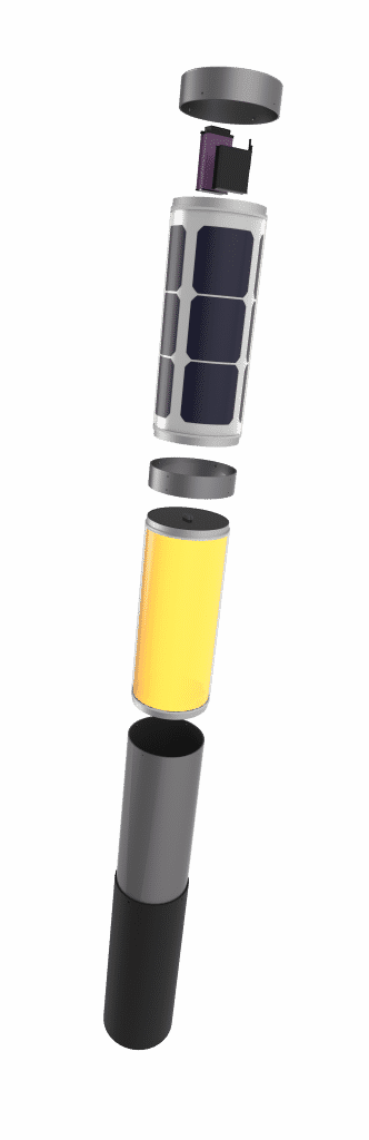 NxT solar bollard outdoor garden lighting exploded view